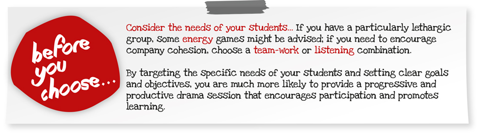 Suggest a Drama Menu lesson plan with students in mind